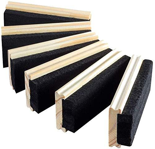 JAOK Chalkboard Erasers, Wood Chalk Eraser&Premium Wool Felt, Dustless Blackboard Eraser Cleaner for School,Office,Campus,College&Home(6 Pack)