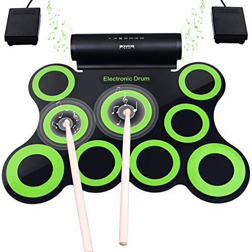 Upgraded Version Electronic Drum Set, BONROB 9 Drum Pads Electric Drum Set, Built in Speaker With Drum Sticks, Drum Pedals, Headphone Jack, Birthday Gift for Kids