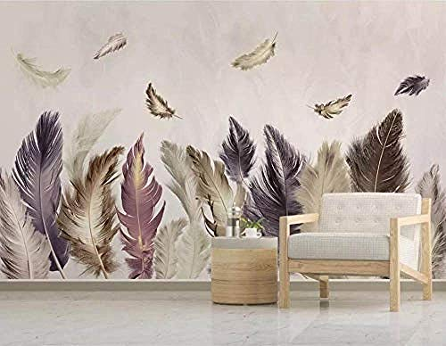 XHXI Retro Floating Feather Modern Decorative Hd Art Print Poster Picture Photo for Living Room Wall Decoration 3D Wallpaper Paste Living Room The Wall for Bedroom Mural border-350cm×256cm