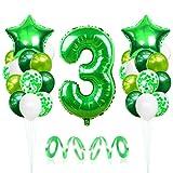 3 Globos de Cumpleaños, Globo 3 Año, Globo Numero 3, Decoracion Cumpleaños Niño, Globos Grandes Gigantes Helio Verde, Globos para Fiestas de Cumpleaños