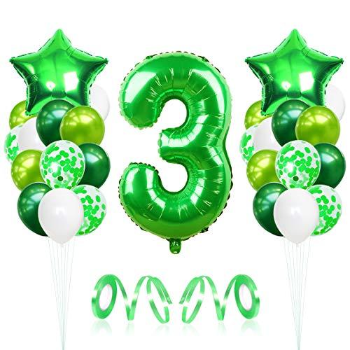 3 Globos de Cumpleaños, Globo 3 año, globo numero 3, Globos Grandes Gigantes Helio Verde,Globos para Fiestas de Cumpleaños