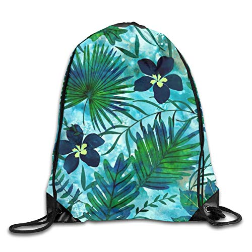 Drawstring Bag Rucksack Drawstring Backpack Nalani Hawaiian Tropical Garden Teal for Picnic Gym Sport Beach Yoga Drawstring Sackpack Bag 36X43CM