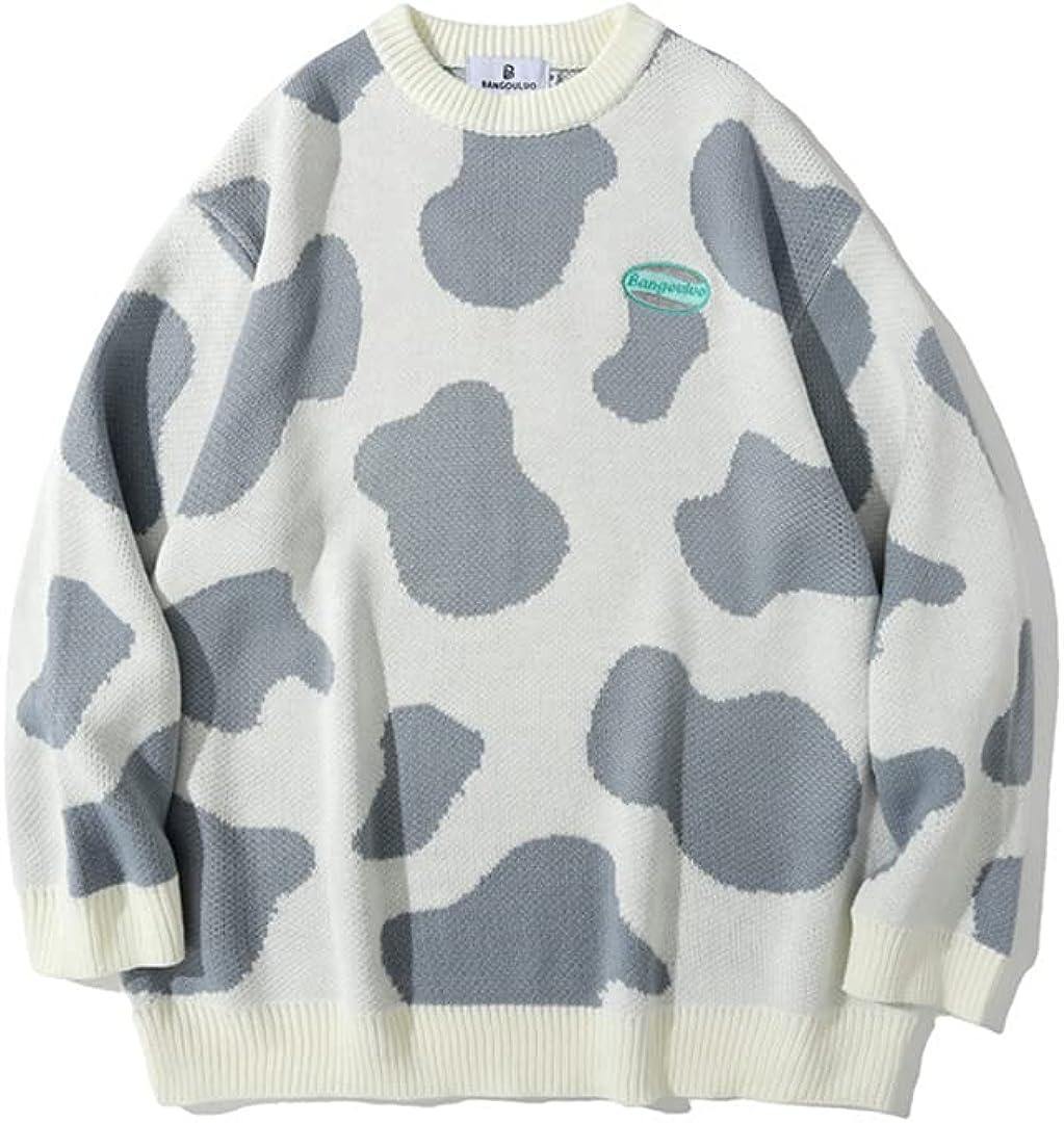 Men Cow Spots Knitted Oversize Jumper Sweaters Casual Knitwear Sweater