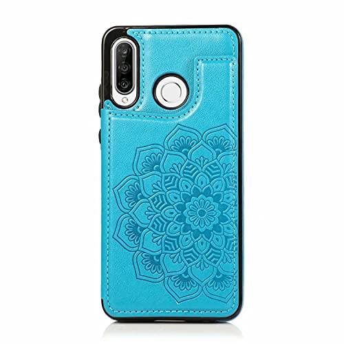 Lijc Kompatibel mit Huawei P30 Lite Hülle Botón Doble Doppelter Knopf Mandala Geprägt PU Leder Kartentaschen [Kartenfach] [Standfunktion] Anti-Schock Flip Schutzhülle-Blau