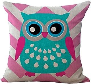 LivebyCare Cartooon Owl Printed Cushion Cover Linen Cotton Cover Throw Pillow Case Sham Pattern Zipper Pillowslip Pillowcase for Home Sofa Couch Chair Back Seat
