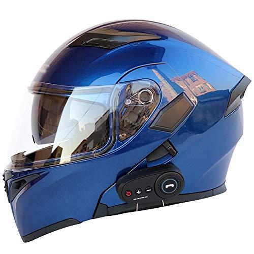 Casco Integral De Motocicleta Bluetooth, Casco Modular Moto,Sistema De Comunicación De Intercomunicación Integrado con Radio FM MP3 De Doble Lente,Certificación ECE A,L(59~60CM)
