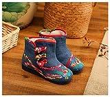 YUTJK Unisex Pantofole da casa,Ultra-Leggero Confortevole e Antiscivolo,Ciabatte per casa,Stivali in Cotone Ricamato Princess Plus-Blu_16CM