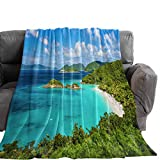 Possta Decor Summer Ocean Island Beach Scene Throw Blanket, Lightweight Cozy Warm Throws Vacation Landscape, Super Soft Fuzzy Plush TV Blankets for Living Room Bedroom Bed Couch Chair