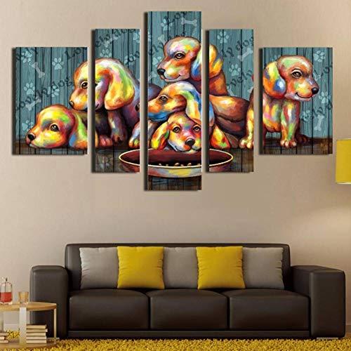 RMRM Modern Pangoo 5 Panel Abstract Animal Puppy Canvas Painting Home Decor Wall Art Pittura a Olio Spray per soggiornoCon Cornice 40x60cm 40x80cm 40x100cm