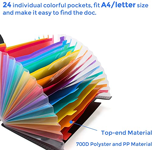 24 Pockets Expanding File Folder with Cover Accordian File Organizer Portable A4 Letter Size File Box,High Capacity Plastic Colored Paper Document Organizer Filing Folder Organizer(2 Pack) Photo #6