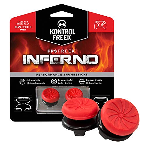 KontrolFreek FPS Freek Inferno for Nintendo Switch Pro Controller   Performance Thumbsticks   2 High-Rise Concave   Red