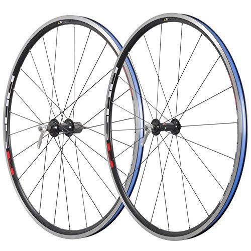 SHIMANO WH-R501 - Ruedas de Bicicleta, Color Negro con Etiqueta roja