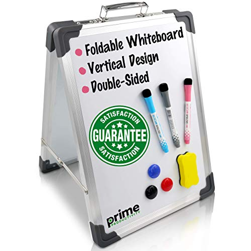 """Small Dry Erase White Board - 12"""" x 16"""" Vertical Magnetic Portable Whiteboard Double-Sided Desktop Foldable Whiteboards for Students Kids Classroom Home Office School"""