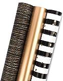MAYPLUSS Wrapping Paper Roll - Mini Roll - 17.3 inch X 120 inch Per roll - 3 Different Black Gold Stripe Design (43.2 sq.ft.ttl)