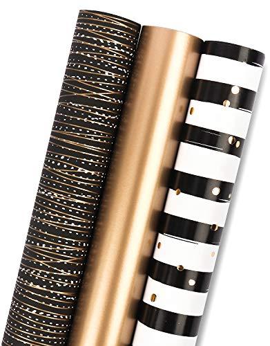 RUSPEPA Geschenkpapierpapierrolle - Mini Roll - 3 Verschiedene Schwarzgold-Streifendesign (14,4 Sq. Ft.Ttl.) - 44 cm X 305 cm Pro Rolle