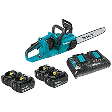 Makita XCU03PT1 18V X2 (36V) LXT Lithium-Ion Brushless Cordless 14  Chain Saw Kit with 4 Batteries (5.0Ah)
