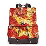 SGSKJ Mochila de Cuero Mujer Bolso Pizza de pepperoni fresca Estudiante Casual Bolsa La Universidad Bolsa de Viaje de Cuero Mochila Mujer