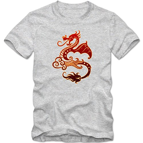 Dragon T-Shirt | Ornement | Adult Homme | Tattoo | Art | Myth | T-Shirt, Couleur:Graumeliert (Grey Melange L190);Taille:Large