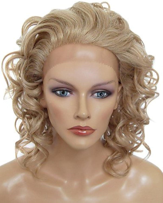Fashion wigstyle Spitze vorne elegant Perücke mittellang gelockt Kunsthaar HitzeBestendig Perücke (blond)