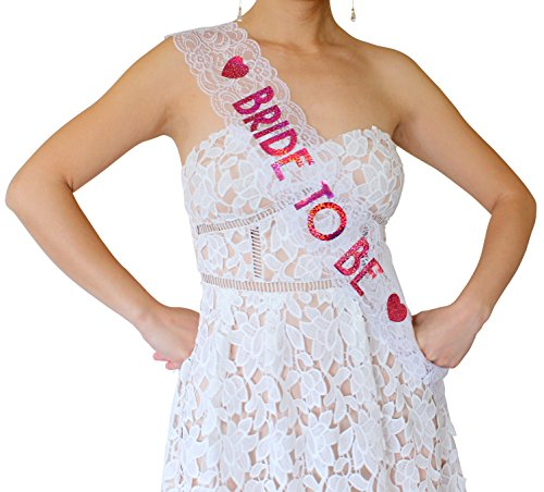 Bride to Be Lace Sash - Bachelorette Party, Bridal Shower & Wedding Party Accessory (White & Pink)