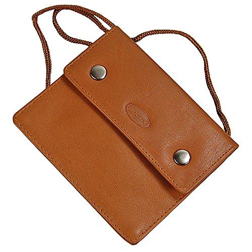 BOCCX Kleiner Brustbeutel aus weichem Leder mit Klarsichtfach für Ausweis Brusttasche Security Wallet GoBago 10018 Natur