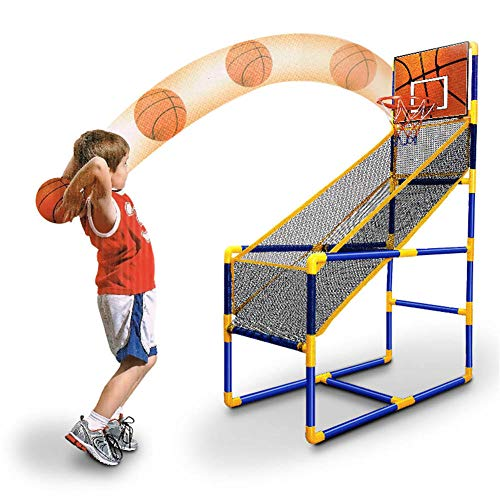 Baloncesto Kids Hoop Ballball Juego de Disparos, Bastidor de Baloncesto Hoop Shoot Hoop - Hoop de Baloncesto y Soporte de Red - Uso Interior / Exterior - Bola y Bomba Incluidas - Fácil de Montar
