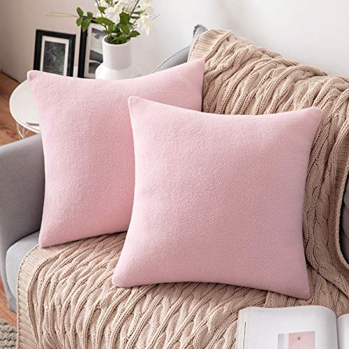 MIULEE 2 Unidades Fundas de cojín para sofá Almohada Caso de Diseño Compuesto de Polar Fleece Cómodo Decoración para Habitacion Juvenil Sofá Comedor Cama Dormitorio Oficina 45 x 45cm Rosa