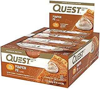 Quest Nutrition Protein Bar Pumpkin Pie. Low Carb Meal Replacement Bar with 20g Protein. High Fiber, Soy-Free, Gluten-Free (24 Count)