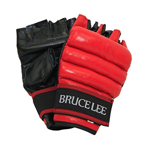 Bruce Lee Ballhandschuhe Fitness, rot schwarz, S/M