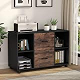 Tribesigns 2 Drawer Wood File Cabinet Letter Size, Large Mobile Lateral Filing Cabinet Printer Stand with Storage Shelves and Wheels for Home Office (Black/Rustic)