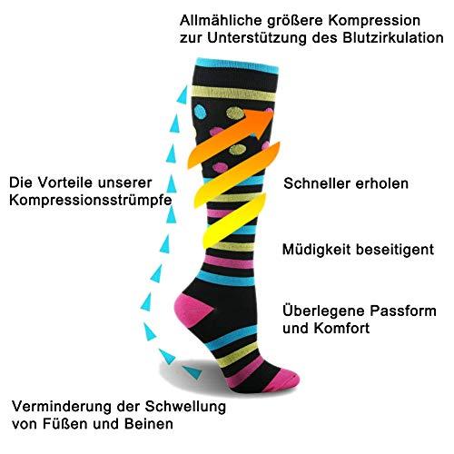 3 Paar Kompressionsstrümpfe für Damen Herren - Kompressionssocken Thrombosestrümpfe Compression Socks Stützstrümpfe für Sport, Medizinisch, Reisen, Flug, Lauf, Joggen, Radsport, Schwangerschaft - 5