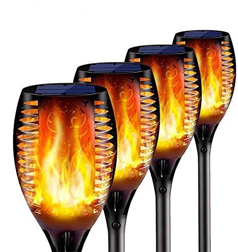 ZLI 4 Stück Solar Flammenlicht, 96 led Solarleuchte Garten IP65 Wasserdicht Solarlampe Gartenfackeln mit Realistischen Flammen Automatische EIN/Aus Außen Warmlicht