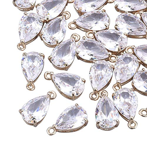 Craftdady 50pcs Faceted Glass Dangle Beads Small Teardrop Crystal Charm Pendants with Light Gold Frame for Jewellery Necklace Earrings Making, Clear