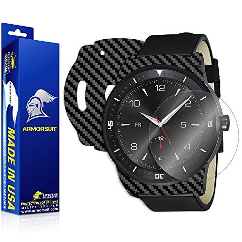 ArmorSuit LG G Watch R Screen Protector MilitaryShield + Black Carbon Fiber Skin Wrap Film Back Protector for LG G Watch R
