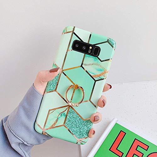 Saceebe Compatible avec Samsung Galaxy Note 8 Coque Silicone Motif Géométrique Marbre Housse Etui avec Anneau Support Bague Glitter Paillette Brillant Strass Ultra Fine Fille Case,Vert