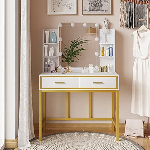 Tiptiper Makeup Vanity Table with Lighted Mirror, Vanity...