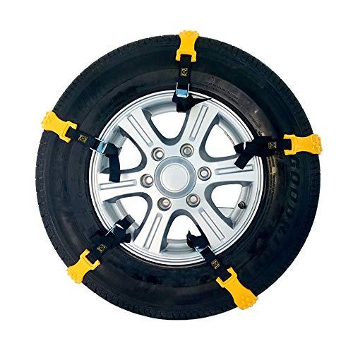 YUEMA 10 cadenas de nieve para neumáticos, cadena antideslizante de emergencia para coche, cadenas para neumáticos de nieve, universales, para coches, todoterrenos, camiones, color amarillo