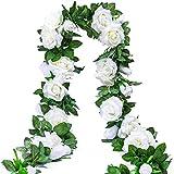 Künstlich Rosen Blumengirlande Kunstblumen Seidenblumen Blumen Rose Girlande Hängend Rebe für Zuhause Wand Hochzeit Bogen Anordnung Dekoration (2 Stücke, 9 Blumen - Weiß)