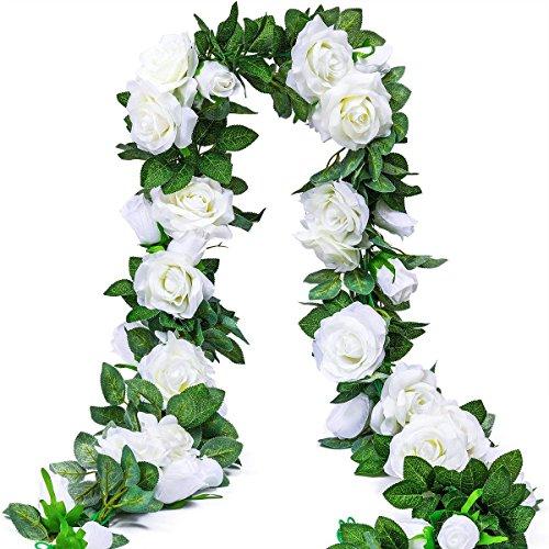 Msrlassn Guirnalda Rosas de Seda Artificiales Flores Vides Flores Falsas Colgando Plantas Hiedra Rosa para Colgar en Bodas Hogar Oficina Arco Decoración (9 Flores- Blanco,2 Unidades)