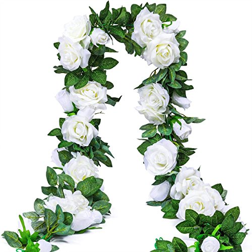 Ksnnrsng Artificial Rose Vines Fake Silk Flowers Rose Garlands Hanging Rose Ivy Plants for Wedding Home Office Arch Arrangement Decoration (2PCS, 9 Flowers-White)