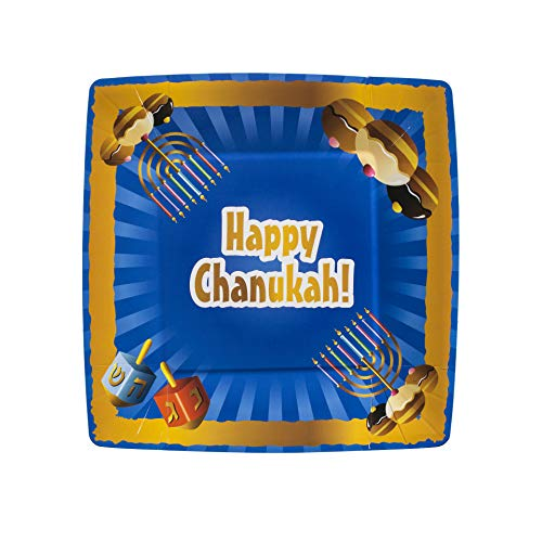 [7.5'' Plate 20 Pack] Happy Chanukah Square Party Plates 7.5'' inch Paper Plate Light blue Design