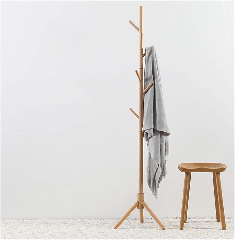 Qi_Hallway Furniture Standing Coat Rack Tree Stylish Wooden Hat Coat Stand Rack Clothes Jacket Umbrella Storage Hanger Organiser (Wood color) Standing Coat Racks (color   Pink)