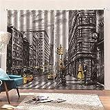 JKCloth Cortina Opaca 2 Piezas Térmica Aislante Protección UV Poliéster Blackout Cortinas para Salón Dormitorio y Habitación Calle Nueva York 75x166cm