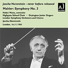 Mahler-Symphony No. 3 / Brahms Piano Concerto No. 1 Claudio Arrau by Helen Watts Contralto; London Symphony Orchestra And Chorus Live London 16.11.1961 (2014-07-02)