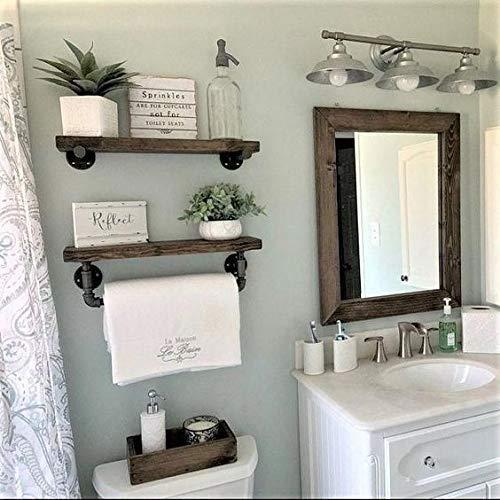 Amazon Com Towel Bar Bathroom Shelving 2 Shelf Set With Farmhouse Decor Handmade