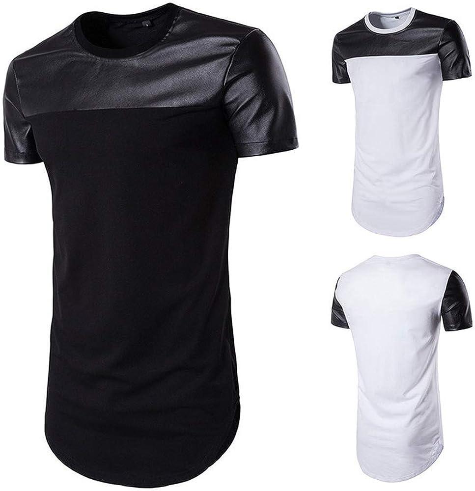GUBIDIAO Mens Hipster Shirts Round Hemline Long Hip Hop T-Shirt Solid Color Top Tees Shirt