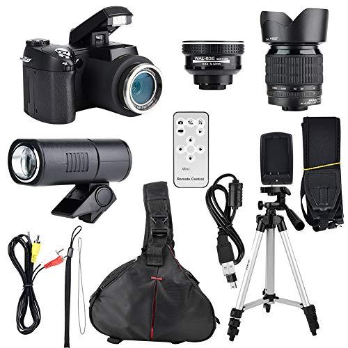 Digitalkamera, 33MP HD D7300 Camcorder Kamera Weitwinkelobjektiv + 24X Teleobjektiv + LED + Stativ