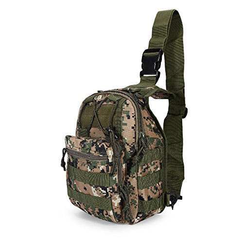 Outdoor Shoulder Military Sport Backpack Rucksack Camping Travel Hiking Hunting Trekking Bag Small Tactical Assault Pack Daypack (DIGITAL JUNGLE CAMOUFLAGE)