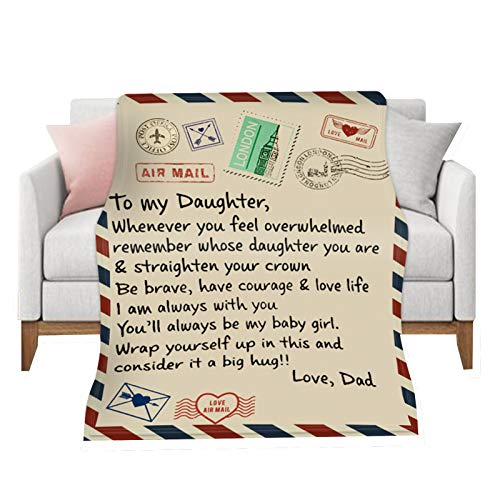 DYJD Personalized Letter Blanket Blanket-4 Styles&5 Sizes Comfortable Coral Fleece Blanket Asweeting To My Daughter From Mum Blanket,A006,150 * 200cm