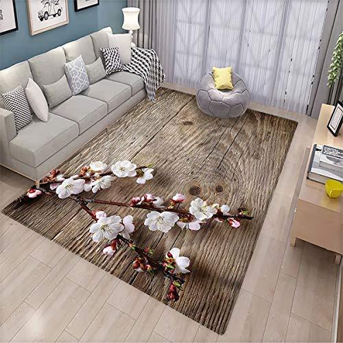 Rustic Balcony Floor mat Springtime Cherry Blossom Patio Door Floor mat Non-Slip Decoration
